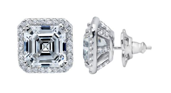 Simulated Diamond Asscher Cut Halo Earrings E0223CLP