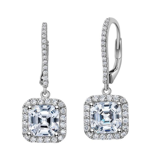 Leverback Asscher Cut Simulated Diamond Earrings E0224CLP