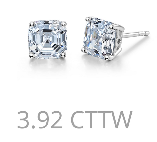 Asscher Cut Simulated Diamond Post Earrings E0226CLP