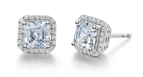 Asscher Cut Simulated Diamond Halo Post Earrings E0228CLP - Jewelry Works