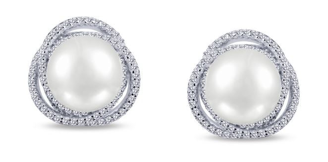 Freshwater Pearl and Simulated Diamond Post Earrings E0230PLP - Jewelry Works