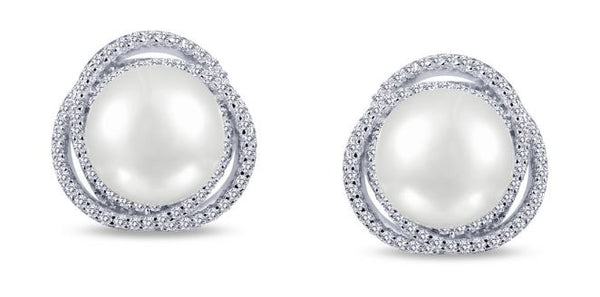 Freshwater Pearl and Simulated Diamond Post Earrings E0230PLP