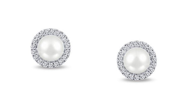 Freshwater Pearl and Simulated Diamond Post Halo Earrings E0234PLP - Jewelry Works
