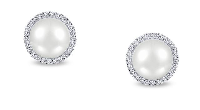 Freshwater Pearl and Simulated Diamond Post Halo Earrings E0235PLP - Jewelry Works