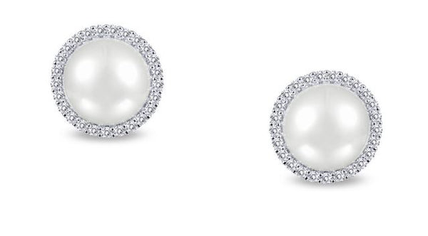 Freshwater Pearl and Simulated Diamond Post Halo Earrings E0235PLP