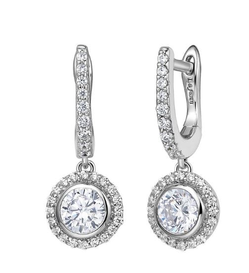 Simulated Diamond Huggie Drop Halo Earrings E0239CLP
