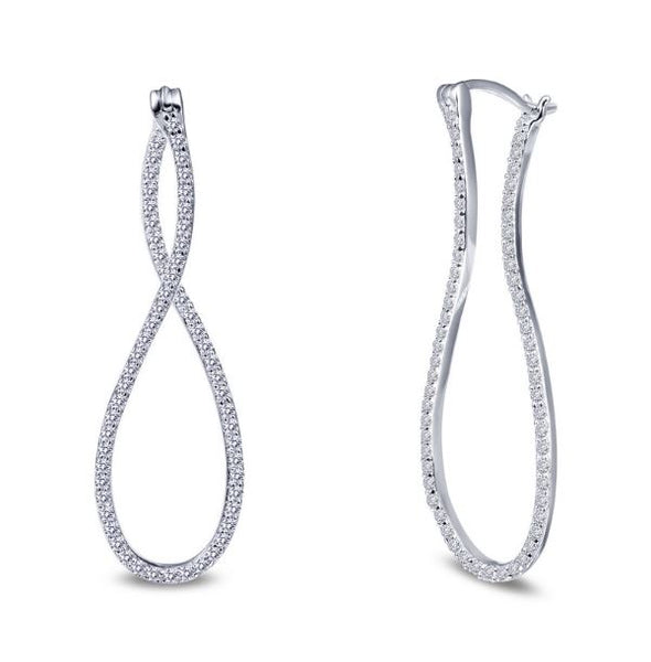 Simulated Diamond Infinity Hoop Earrings E0242CLP