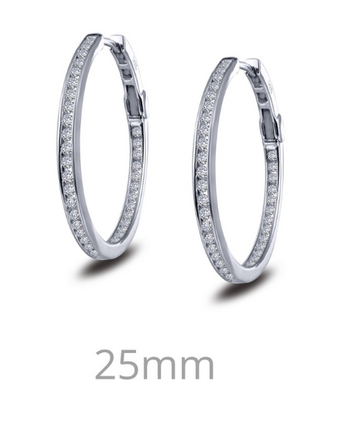 Simulated Diamond Inside Out Hoop Earrings E0250CLP - Jewelry Works
