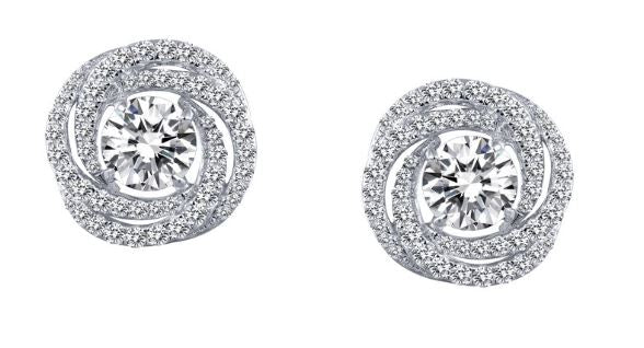 Simulated Diamond Love Knot Halo Earrings E0254CLP