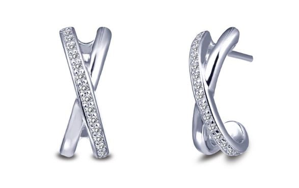"Simulated Diamond ""X"" Earrings E0255CLP"