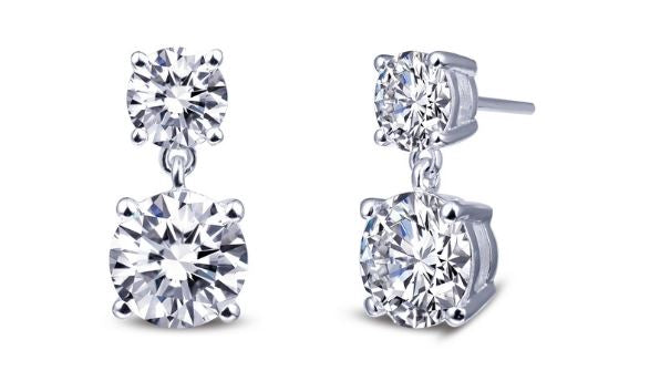 Simulated Diamond Dangle Stud Earrings E0257CLP