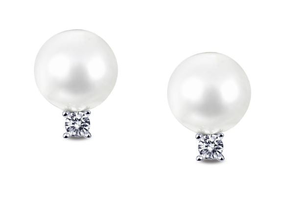 Simulated Diamond Pearl Earrings E0260PLP - Jewelry Works