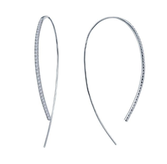 Simulated Diamond Large Open Hoop Earrings E0263CLP - Jewelry Works