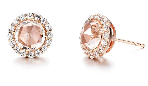 Rose Cut Simulated Morganite Earrings E0278MGR
