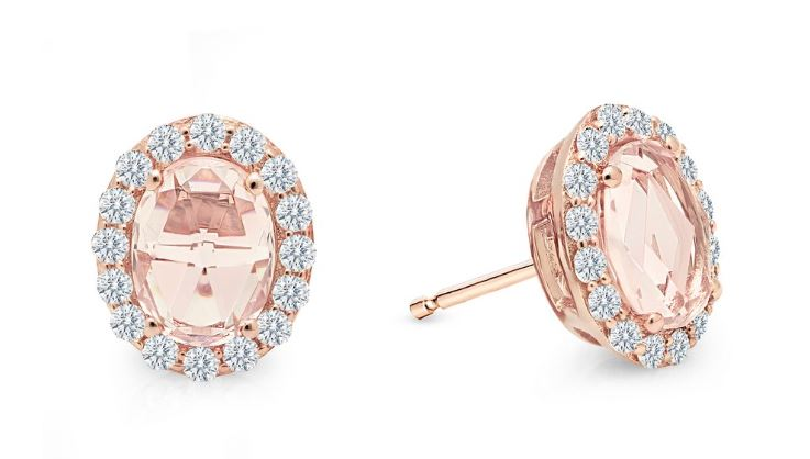 Rose Cut Halo Oval Earrings Simulated Morganite E0293MGR - Jewelry Works