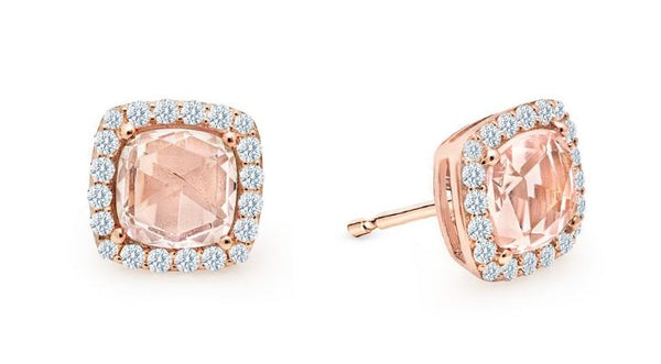 Rose Cut Halo Cushion Earrings Simulated Morganite E0294MGR