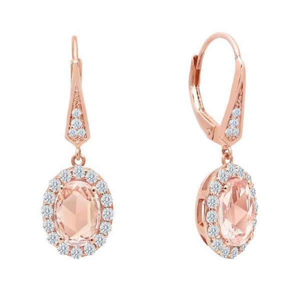 Leverback Simulated Morganite Oval Halo Earrings E0295MGR - Jewelry Works
