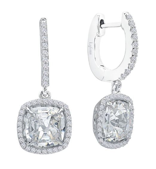 Cushion Rose Cut Halo Leverback Earrings E0299CLP