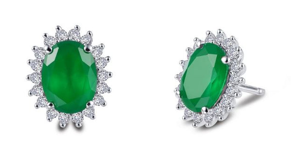 Simulated Emerald Halo Post Earrings E0308CEP - Jewelry Works