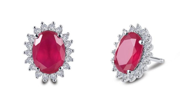Lab Grown Ruby Halo Post Earrings E0308CRP - Jewelry Works
