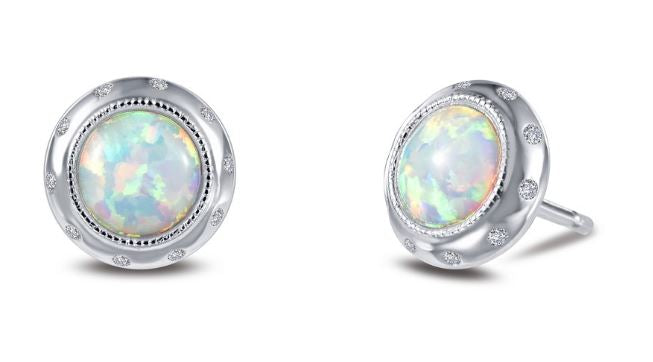Vintage Style Simulated Opal Earrings E0319OPP - Jewelry Works