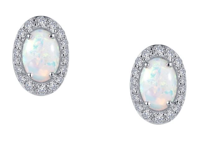 Simulated Opal Oval Halo Earrings E0323OPP - Jewelry Works