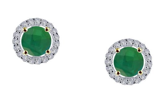 Simulated Emerald Diamond Halo Earrings E0328CET - Jewelry Works