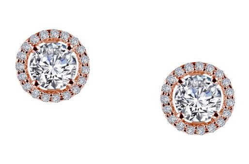 Simulated Diamond Halo Earrings E0328CLR - Jewelry Works