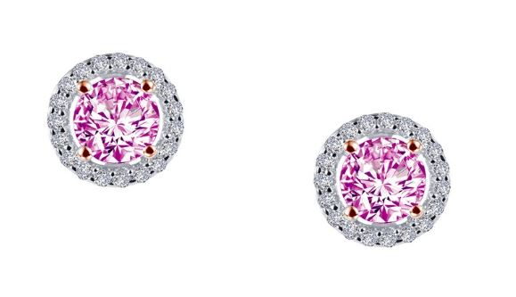 Simulated Pink Diamond Halo Earrings E0328CPT - Jewelry Works