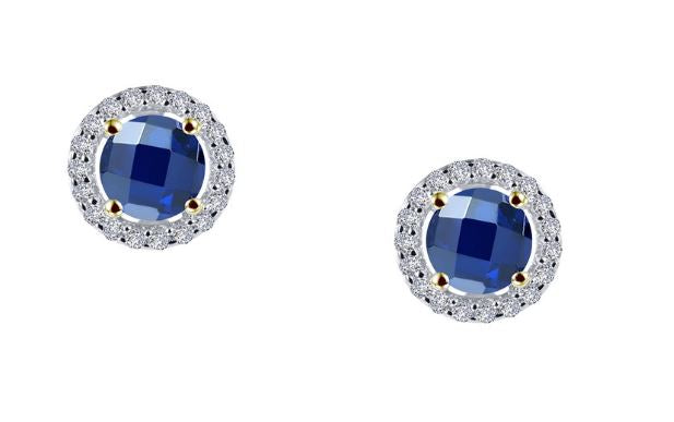 Lab Grown Sapphire Halo Earrings E0328CST - Jewelry Works
