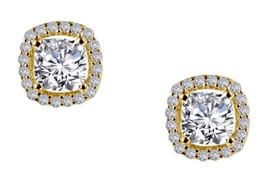 Cushion Simulated Diamond Halo Earrings E0329CLG - Jewelry Works