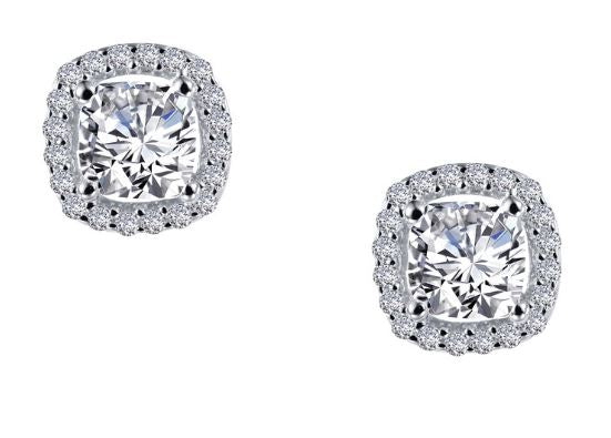 Cushion Simulated Diamond Halo Earrings E0329CLP - Jewelry Works
