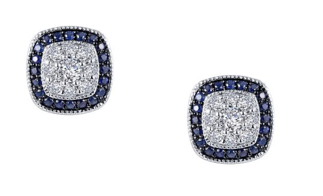Lab Grown Sapphire and Simulated Diamond Halo Earrings E0333CSP - Jewelry Works