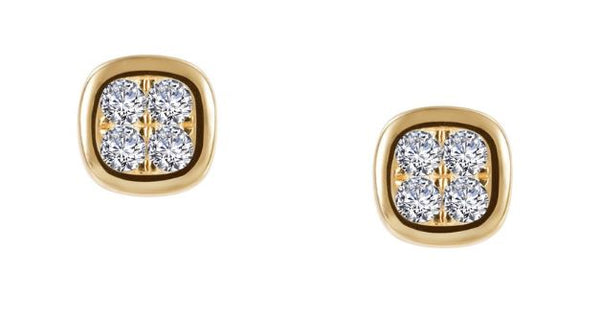 Two Tone Button Stud Earrings E0344CLT