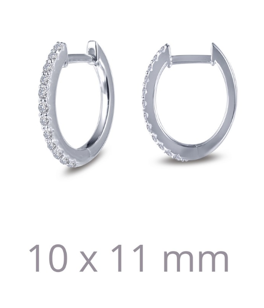 10x11mm Huggie Hoop Simulated Diamond Earrings E0345CLP - Jewelry Works