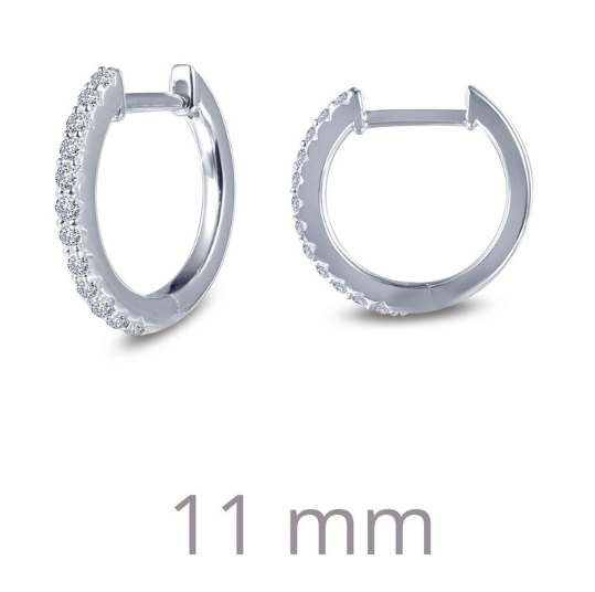 11mm Round Huggie Hoop Simulated Diamond Earrings E0346CLP - Jewelry Works