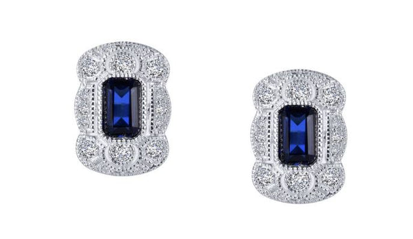 Art Deco Style Lab Grown Sapphire Earrings E0348CSP - Jewelry Works