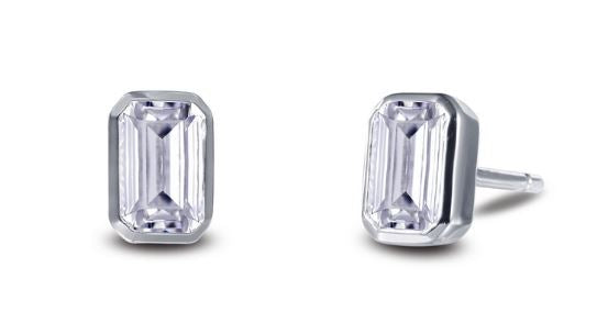 Bezel Set Simulated Emerald Cut Diamond Stud Earrings E0350CLP