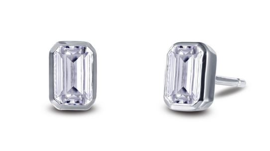 Bezel Set Simulated Emerald Cut Diamond Stud Earrings E0350CLP - Jewelry Works