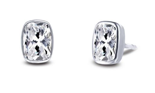 Bezel Set Simulated Cushion Cut Diamond Stud Earrings E0351CLP