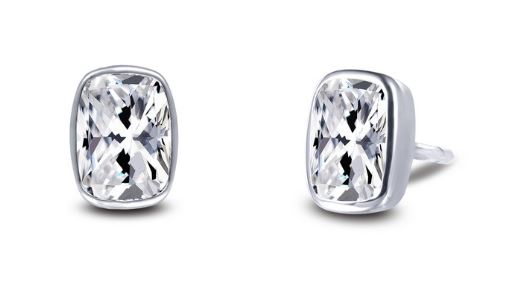 Bezel Set Simulated Cushion Cut Diamond Stud Earrings E0351CLP - Jewelry Works