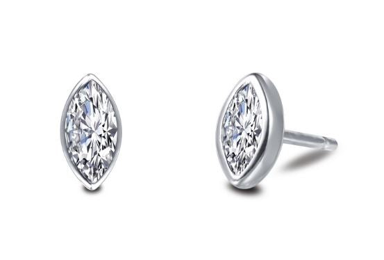 Bezel Set Simulated Marquise Cut Diamond Stud Earrings E0352CLP - Jewelry Works