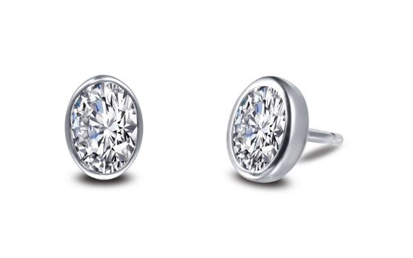 Bezel Set Simulated Oval Diamond Stud Earrings E0353CLP - Jewelry Works