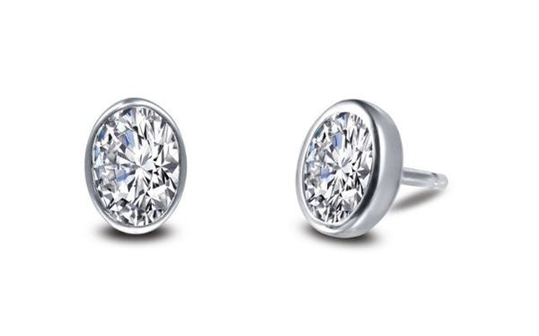 Bezel Set Simulated Oval Diamond Stud Earrings E0353CLP
