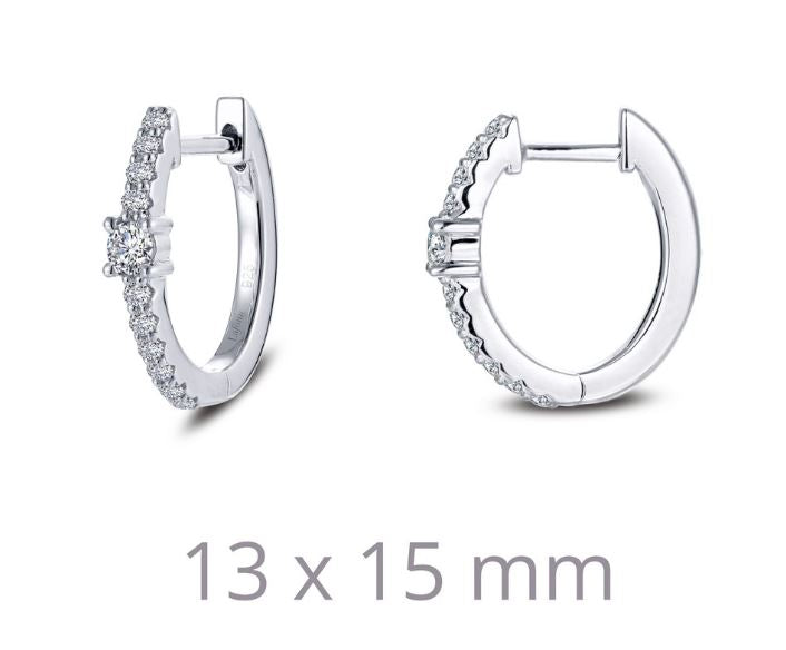 Oval Huggie Station Simulated Diamond Hoop Earrings E0354CLP - Jewelry Works