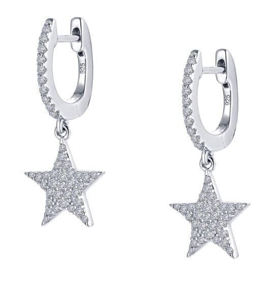 Star Simulated Diamond Hoop Earrings E0355CLP - Jewelry Works