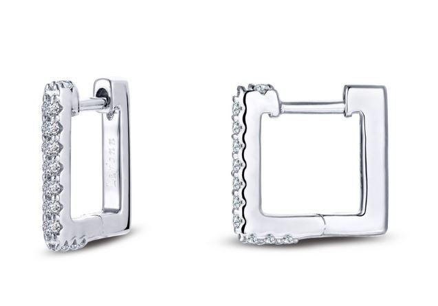 Square Simulated Diamond Hoop Earrings E0356CLP - Jewelry Works