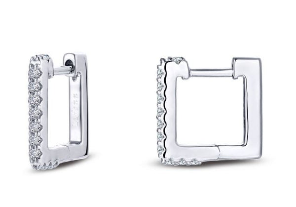 Square Simulated Diamond Hoop Earrings E0356CLP