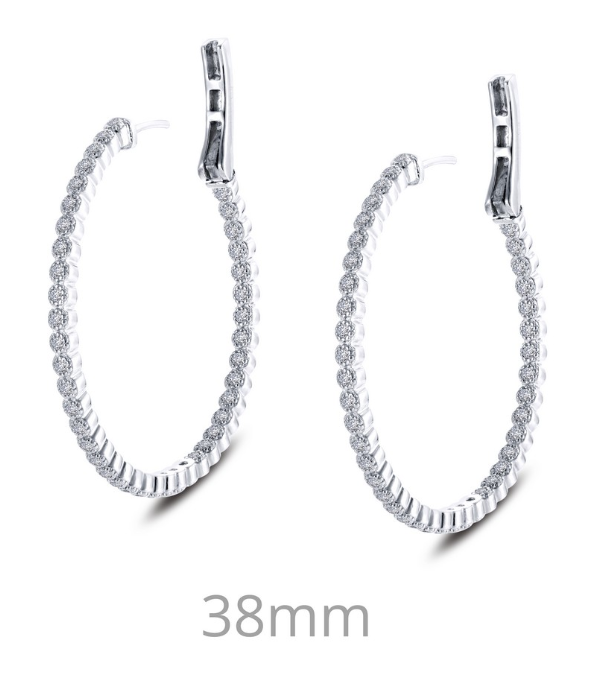 Inside Out Milgrain Large Simulated Diamond Hoop Earrings E0358CLP - Jewelry Works