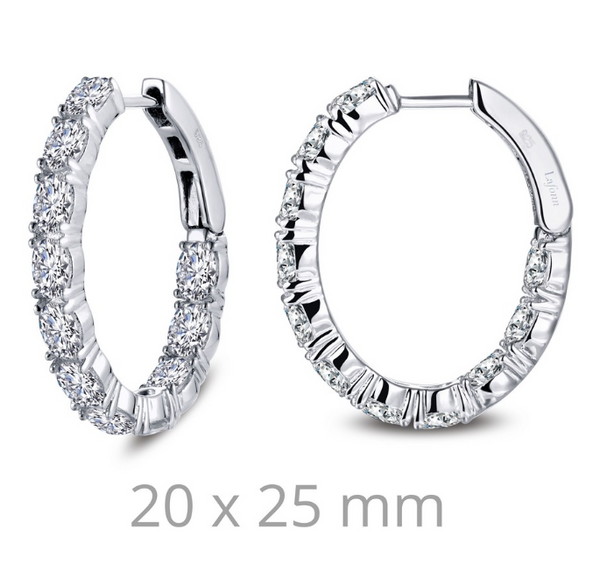 Inside Out Oval Simulated Diamond Hoop Earrings E0359CLP - Jewelry Works